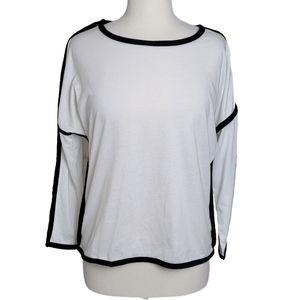 D&K Top Tee Long Sleeve White Black Edging Border